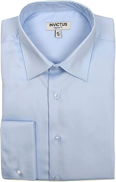 Mens Formal Dress Shirt Invictus Regular Fit Easycare Cotton French Cuff