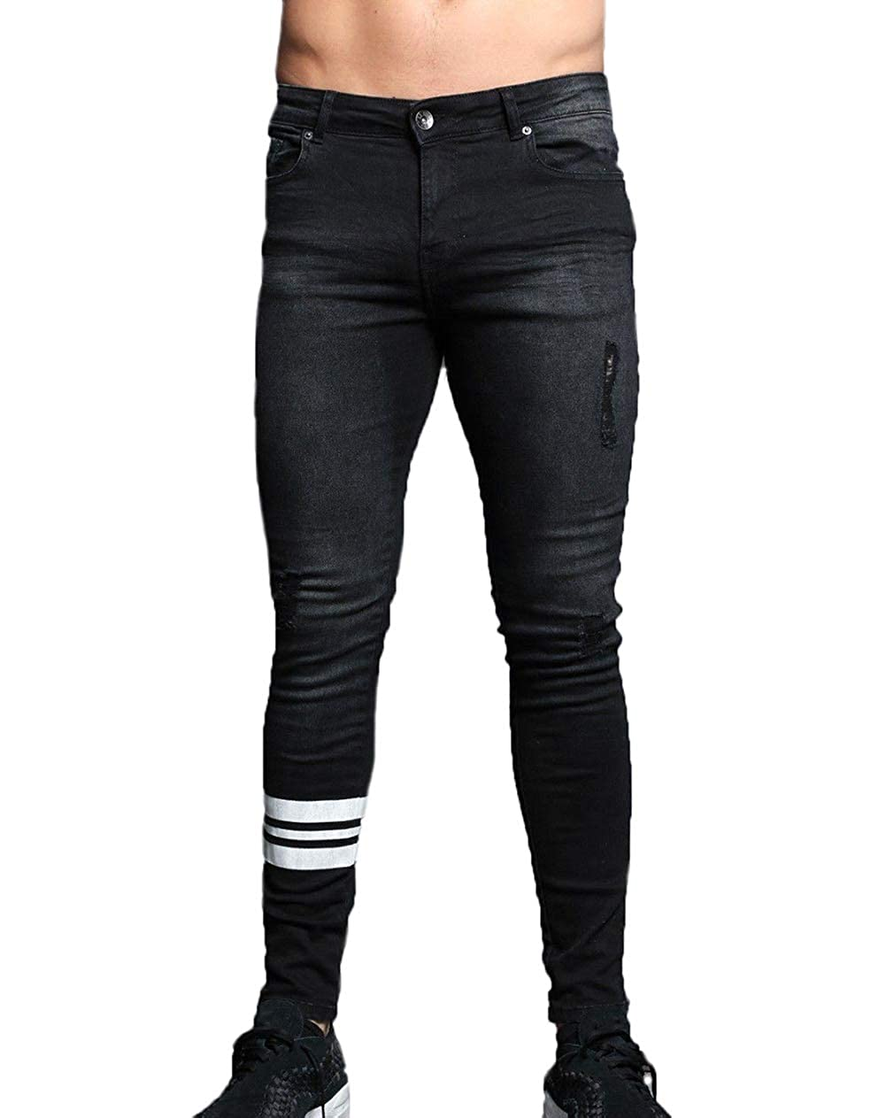 7d19902ef3bd XARAZA Men s Ripped Skinny Denim Jeans Slim Fit Stretch Pencil Pants at  Amazon Men s Clothing store