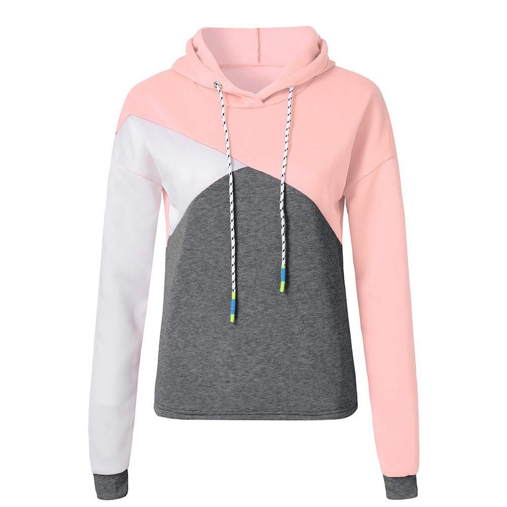 Gocheaper Women Teen Girl Long Sleeve Patchwork Hoodie Autumn Hooded Contrast Color Sweatshirt Pullover Tops Blouse (M, Pink)