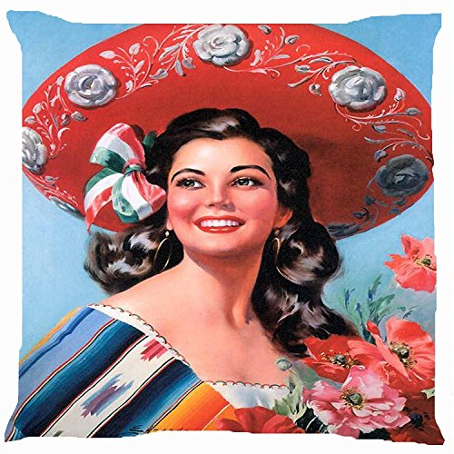 Images Of National Costumes (cushion cover throw pillow case 18 inch retro vintage girl Mexican flower bow ribbon hat national costume dress both sides image zipper)
