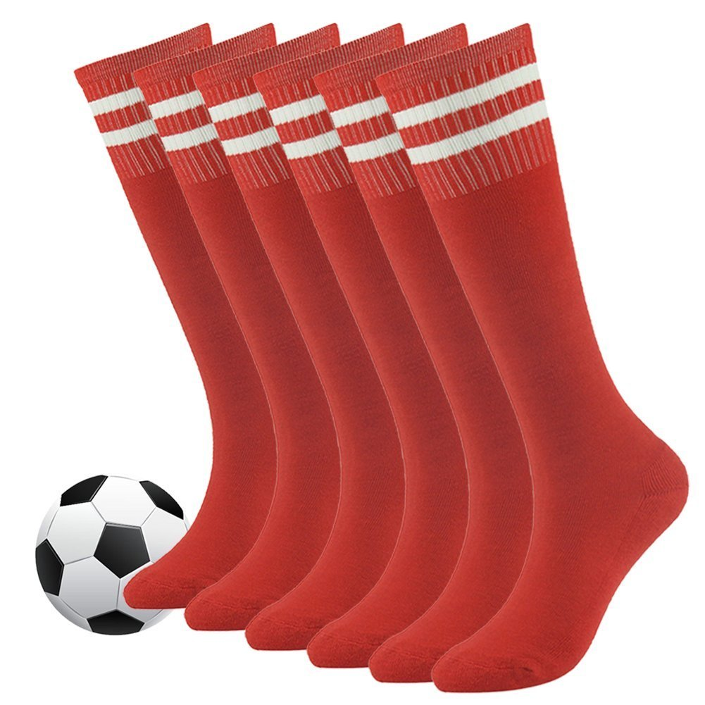 Knee High Soccer Socks,Fasoar Youth Children Cotton Cushion Sweat Absorbing Football Socks Outdoor Sports Socks 6 Pack Red by Fasoar