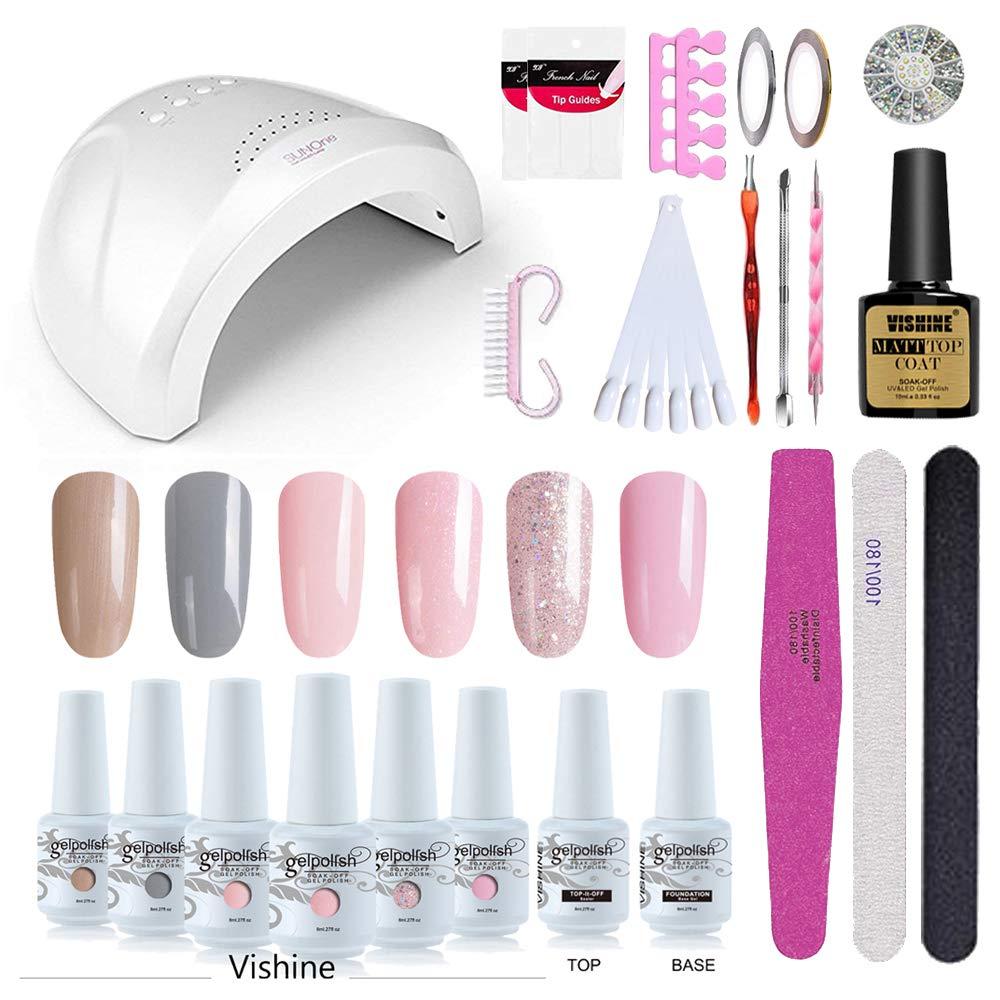 Vishine Gel Nail Polish Starter Kit with 48W SUNOne UV LED Nail Lamp Speed Dryer Manicure Tools 6 Pretty Colors Gel Polish Base and Top Coat #02