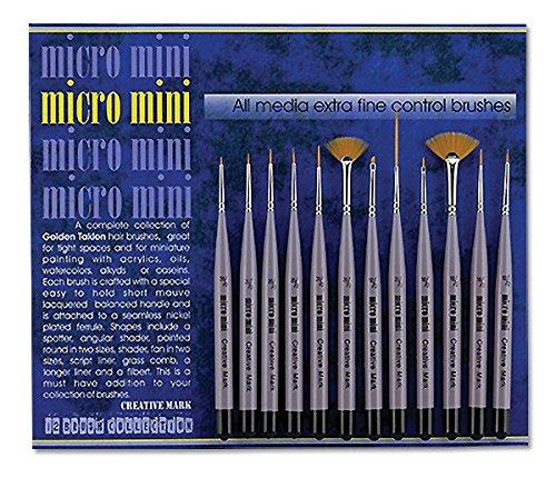 Spotter Golden Taklon Brush - Creative Mark Micro Mini Detail Paint Brush 12 Piece Set Tight Spot Micro Fine Detail Art & Beauty Taklon Short Handled Brush Set
