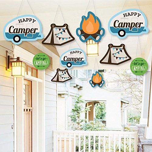 Hanging Happy Camper - Outdoor Camping Baby Shower or Birthday Party Hanging Porch & Tree Yard Decorations - 10 Pieces ()