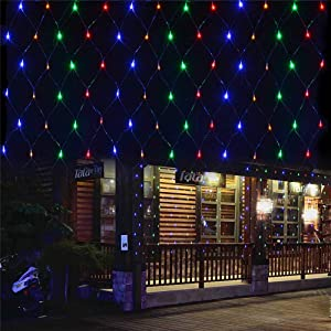 Battery Operated Net String Lights 4.9x3.9Ft 100-Light 8 Modes Mesh Backdrop Indoor Outdoor Mini Curtain Twinkle Lights for Xmas Patio Gate Yard Party Wedding and Holiday Decor (Multi Color)