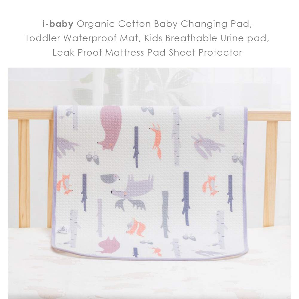 Short Plush Green, 12x18 i-baby 2//pack Portable Baby Changing Pad Kids Breathable Urine pad Leak Proof Mattress Pad Sheet Protector Toddler Waterproof Mat