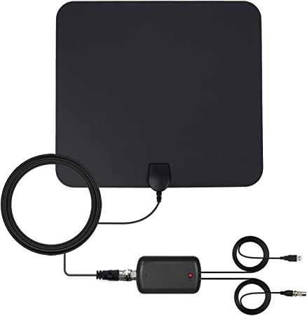 Antena de TV Interior, Digital Antena HDTV Portatil Potente Recepcion Alcance 80KM / 50 Miles, Cable Coaxial de 4M / 13FT y Amplificador de Señal USB ...