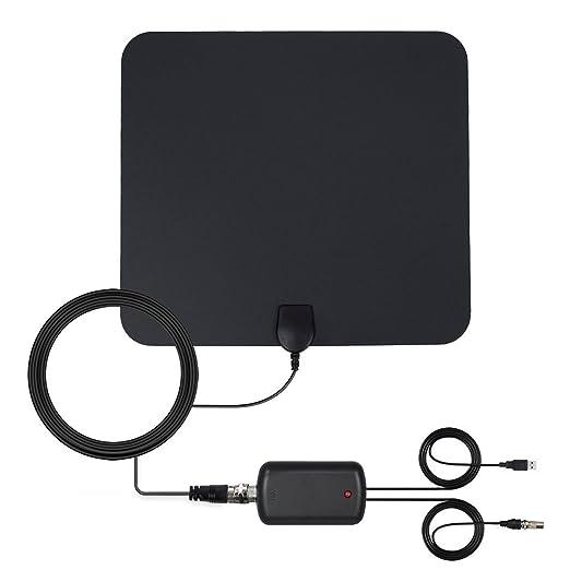 Antena de TV Interior, Digital Antena HDTV Portatil Potente Recepcion Alcance 80KM / 50 Miles, Cable Coaxial de 4M / 13FT y Amplificador de Señal USB para ...