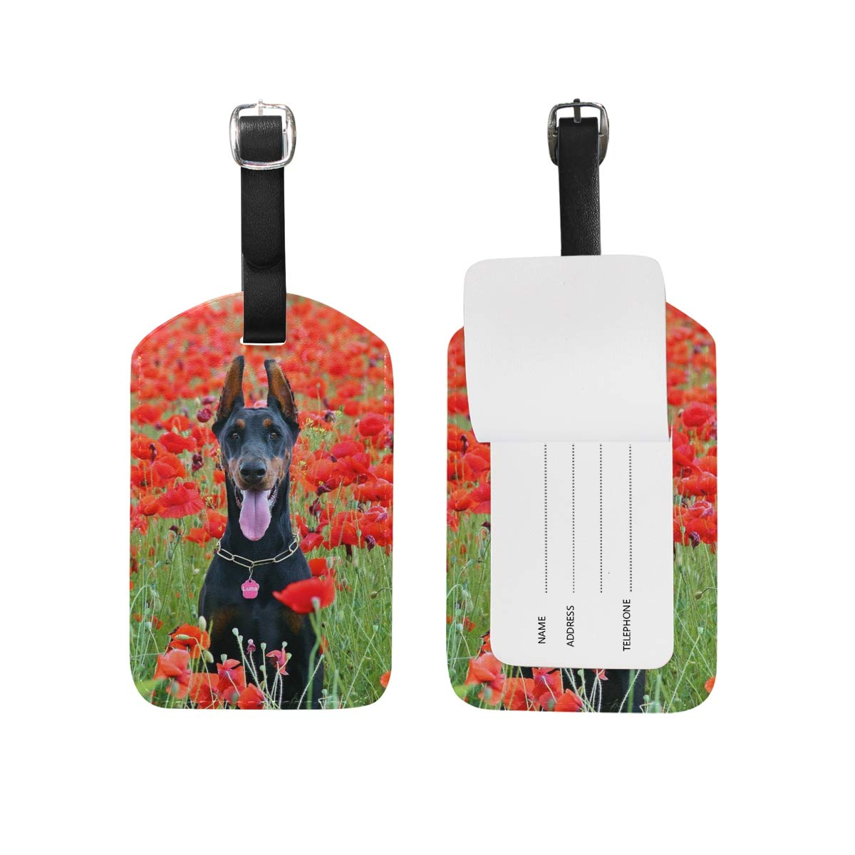 Amazon.com | Doberman Pinscher Rose Luggage Tags For Suitcases, Business Travel ID Identification Labels Set For Bags & Baggage-Set of 2 | Luggage Tags