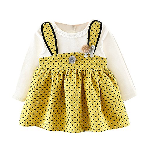 OMINA Princess Dress Infant Kids Baby Girl Long Sleeve Rabbit Dot Outfits Clothes Yellow -