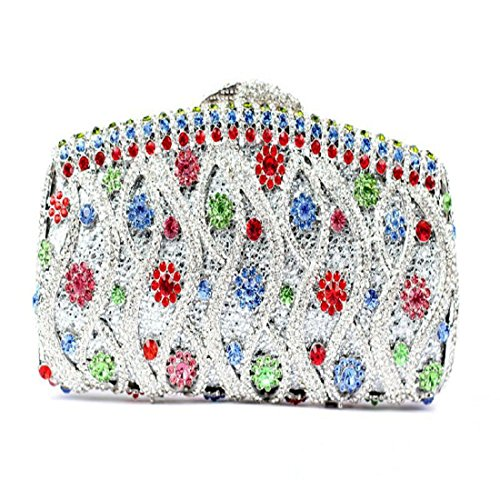 YILONGSHENG Mujer Flor de Bling embrague bolso Rhinestone cristal noche embrague bolsas Clutch Bags Blanco