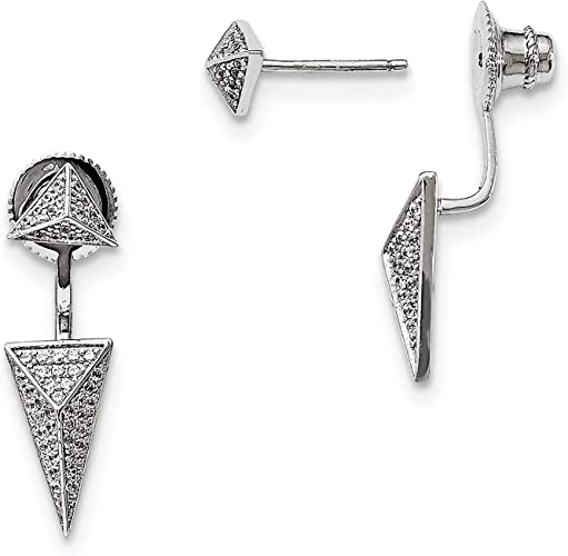Brilliant Embers 925 Sterling Silver Rhodium-plated Polished CZ Post Earrings