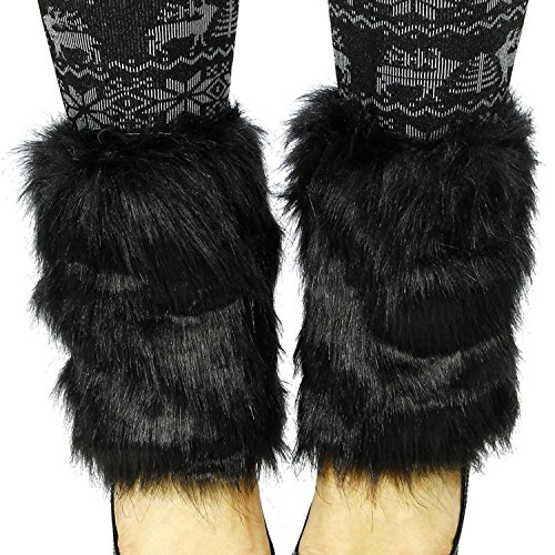 Simplicity Women's Soft Faux Fur Fuzzy Furry Leg Winter Warmers, Khaki (Child Purple Furry Boot Covers)