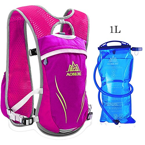AONIJIE Running Vests Hydration Pack with 1L Hydration Bladder Camel Pack Backpack for Trail Running Cycling Marathon Race 5.5L(pink-1L)
