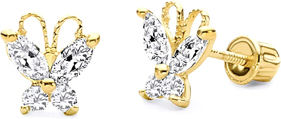Wellingsale 14K Yellow Gold Polished Butterfly Stud Earrings With Screw Back