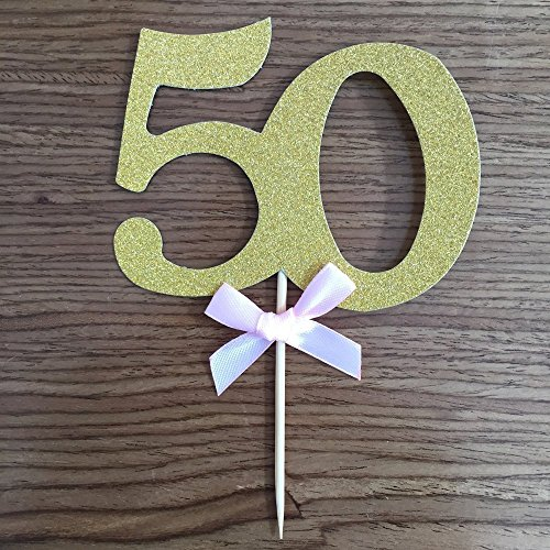 Handmade 50th Birthday Party Decor Glitter Gold Number 50 Cupcake Toppers