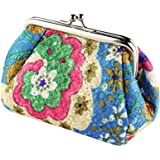 Women's Cute Embroidered Hasp Purse Clutch Bag Key Coin Card Holder Wallet (Blue)