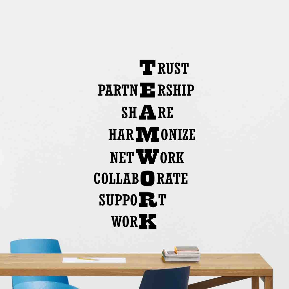 Teamwork wall decal office quote sign words motivational gift inspirational lettering word cloud vinyl sticker print business wall art room design decor