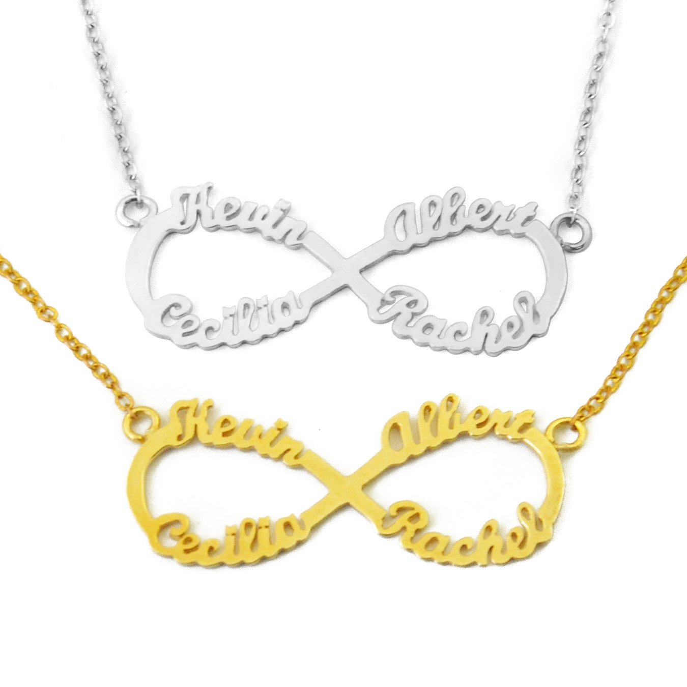 Four Names Necklace weddinghanger2015 Personalized Infinity Necklace Custom Family Necklace Mother Necklace