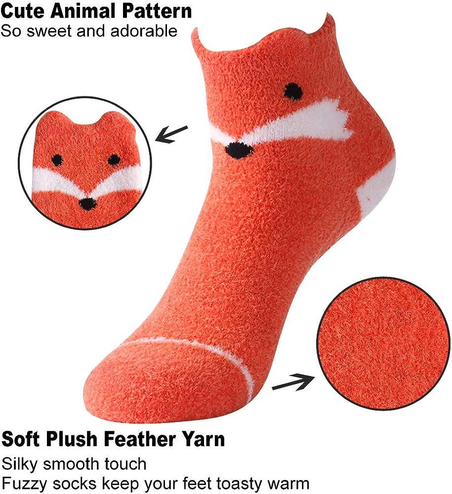 Vive Bears Slipper Socks with Grippers for Women Girls Fluffy Soft Cute Fox Socks Animal Print Novelty Casual Crew Socks,Pack of 3,Mix Color