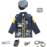 American Deluxe Police Dress Up Costume Set - Includes Shirt, Badge, Hat, Whistle, Handcuff and Walkie Talkie
