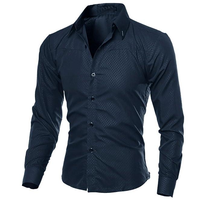 Camisas De Vestir Hombre Botones De Cuadros De Color Sólido De Manga Larga Slim Fit Collar Camiseta De Algodón Formal Negocio Blusa Tops: Amazon.es: Ropa y ...