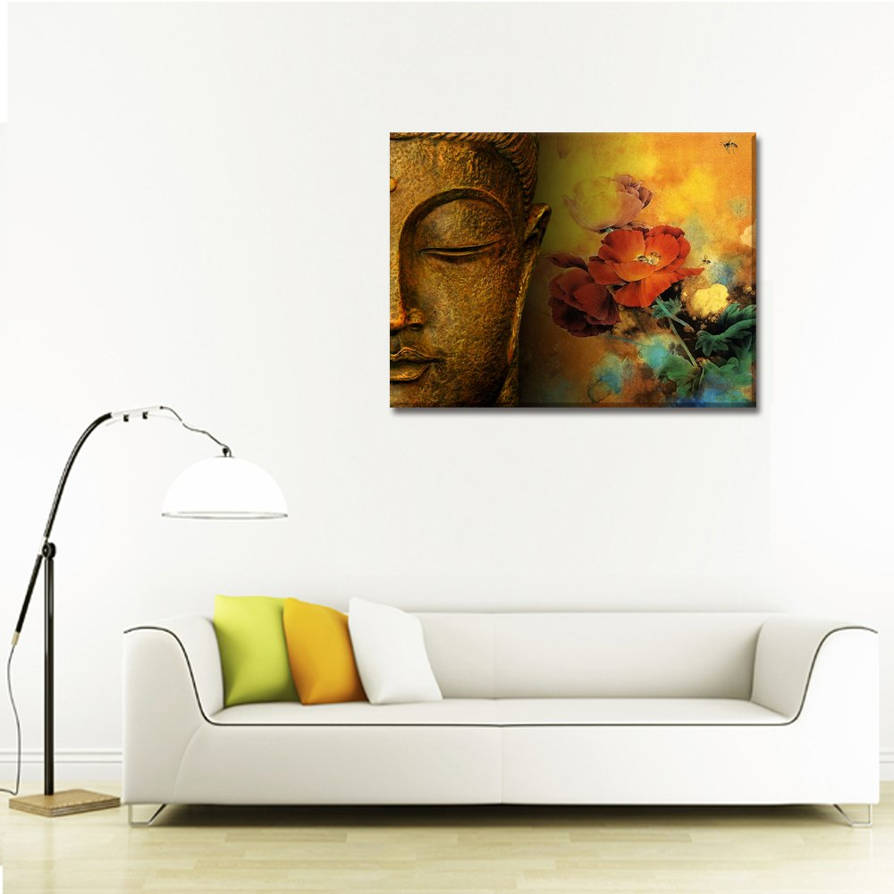 Amazon.com: Buddha Canvas Wall Art, Framed and Stretched, Large Size ...