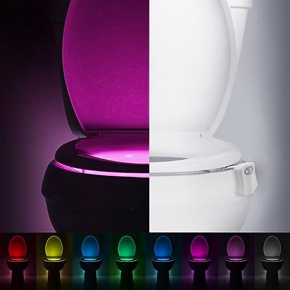 Tapa de inodoro Luz nocturna, LED luz inodoro lámpara con Sensor de movimiento batteriebetriebenes Luz de WC Luz Iluminación para niños Padres en el cuarto ...