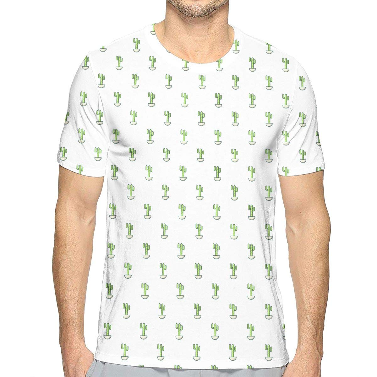 d3ab98a53 Amazon.com: Novelty Tshirts Cereus Mini Cactus Green Short-Sleeve T-Shirt  Crewneck Tee for Men: Clothing