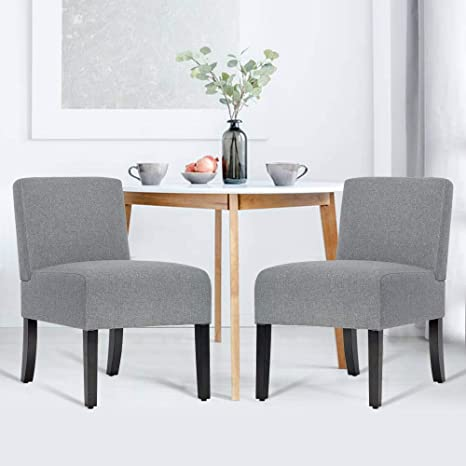 Amazoncom Modern Accent Chair Set Gray Tyyps Fabric