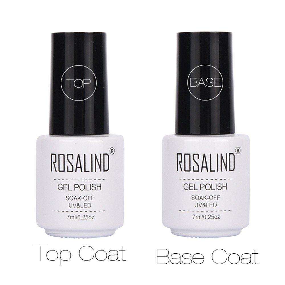 Base Top Coat Nail Polish Gel, Mumustar 2Pcs/Set Nail Top And Base Coat Foundation Sealer Clear High Gloss Soak Off UV Led Nail Lacquers Manicure Pedicure Nail Accessory