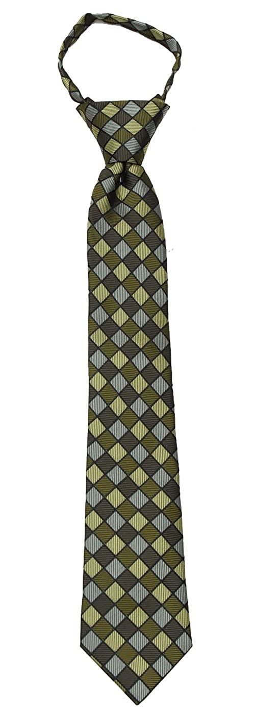 Boys 14 inch Pre Made Pattern Geometrics Fashion Designer Zipper Necktie