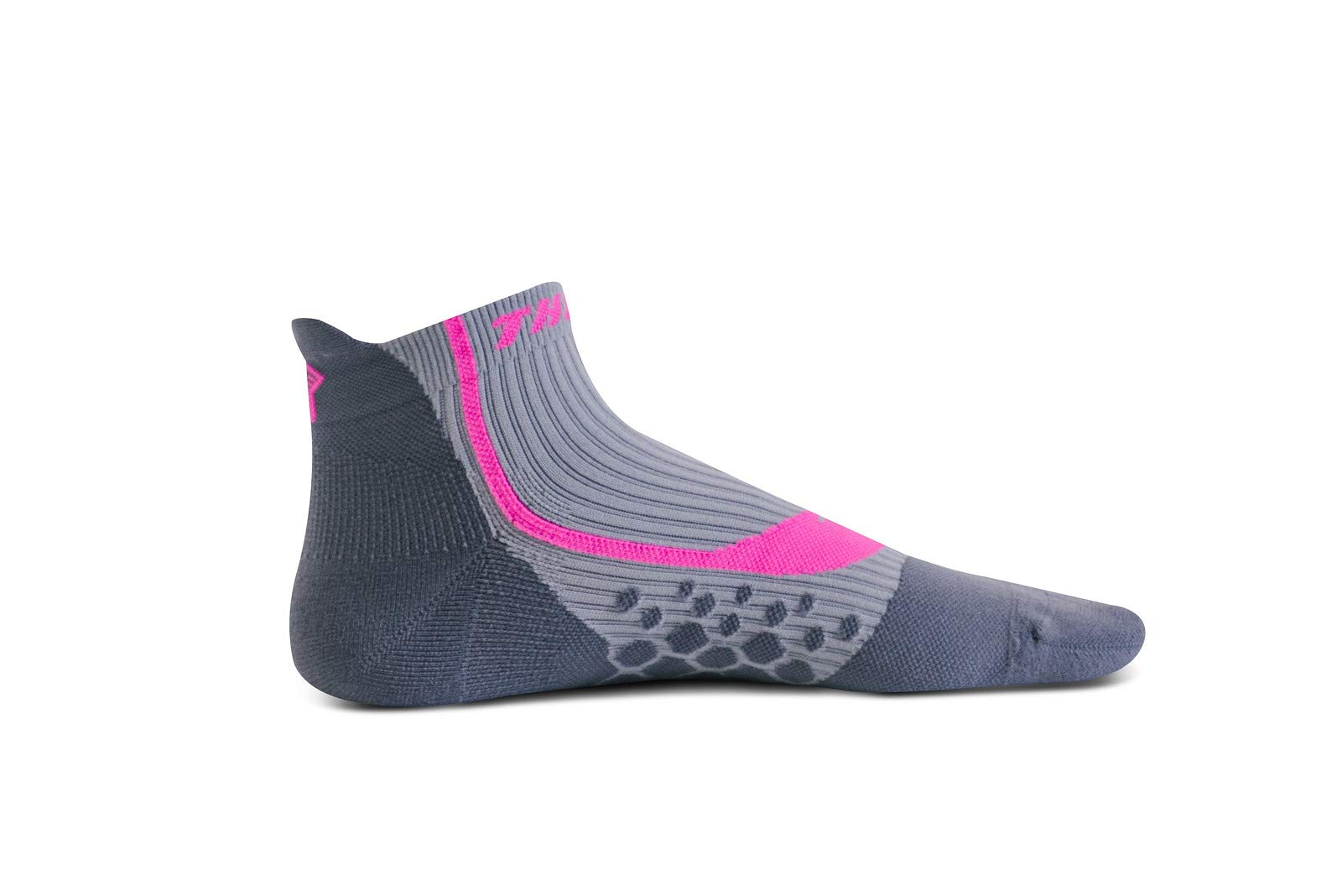 Thirty 48 Compression Low-Cut Running Socks for Men and Women (Small - Women 5-6.5 // Men 6-7.5, [1 Pair] Pink/Gray)