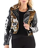 G/&C By coco Faux Leather Black Jacket with Belt Studs Leopard and Animal Print Patches