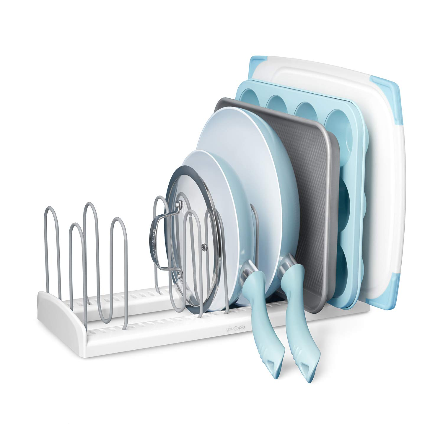 YouCopia 50157 Store More Adjustable Pan and Lid Rack, Large, White by YouCopia