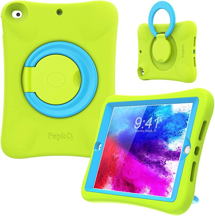PEPKOO iPad 8th 7th Generation Case for Kids - [10.2 inch 2020/2019] Lightweight Shockproof Handle Stand Rugged Cover for Apple iPad 8th 7th Gen 10.2 Inch (Green Blue)