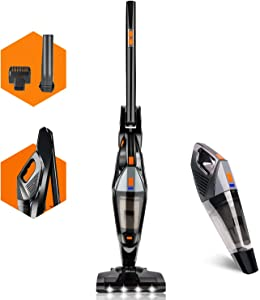 Hikeren Cordless Vacuum, 18kpa Powerful Suction Cordless Stick Vacuum Cleaner, with Rechargeable Large Capcity LED Lights for Home Hard Floor Carpet Car Pet Deep Clean, Lightweight