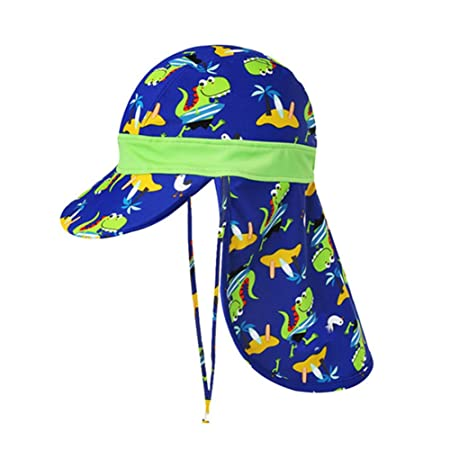 e4208f11fb6c39 Fletion Boys Girls Summer Beach Bathing Cap Swimming Cap With Neck  Protection Bathing Cap With UV Protection: Amazon.co.uk: Kitchen & Home