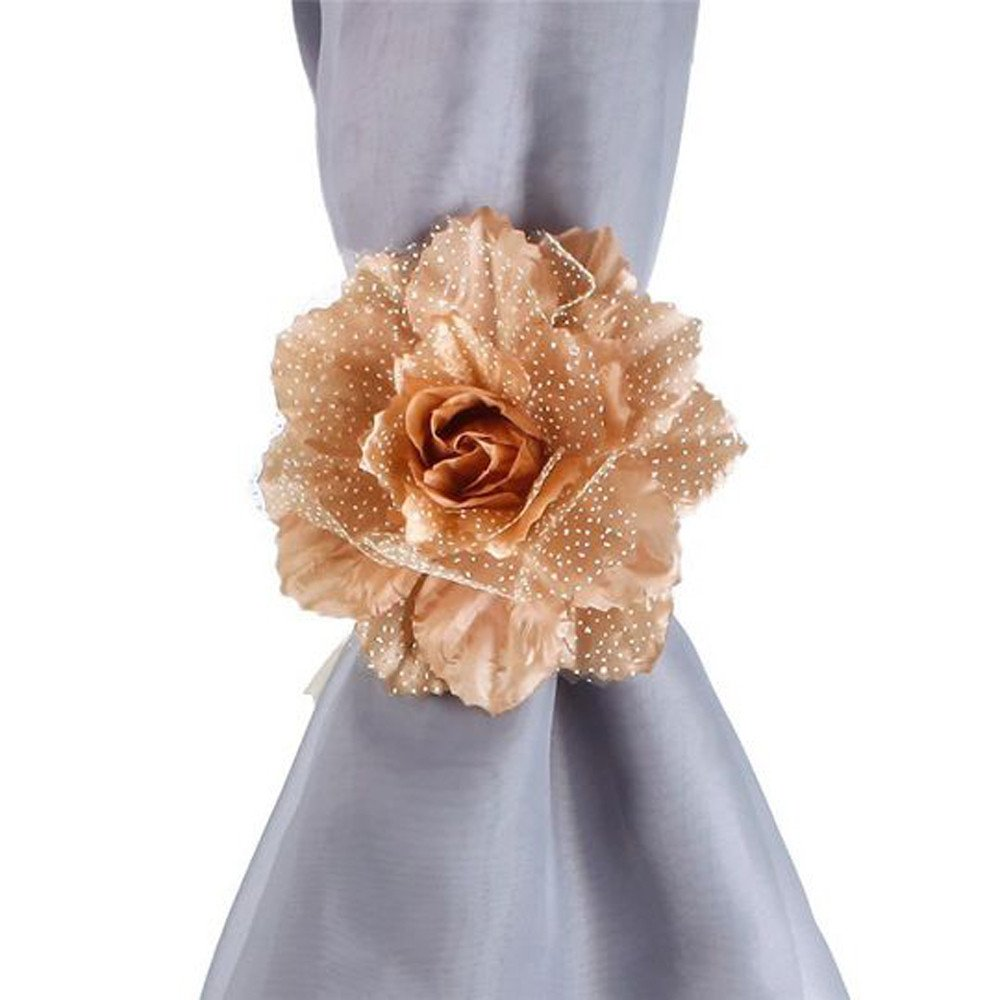 Clearance Tuscom 2Pcs Best Peony Flower Curtain Clip-on Tie,for Backs Holdback Tieback Holder Panel(10 Colors) (E)