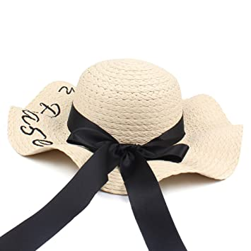 66688d959d6 ALWLj Elegant Ladies Hats Fashion Women Letter Embroidery Straw Hat Wide  Brim Outdoor Foldable Beach Shade