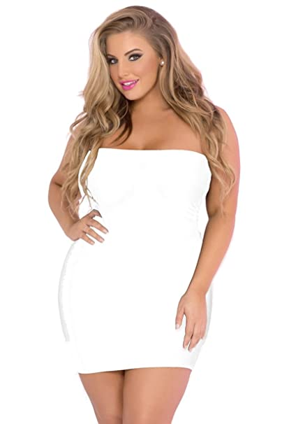 b1cf1a98f050 Nyteez Women's Plus Size Mini Tube Dress (White) at Amazon Women's Clothing  store:
