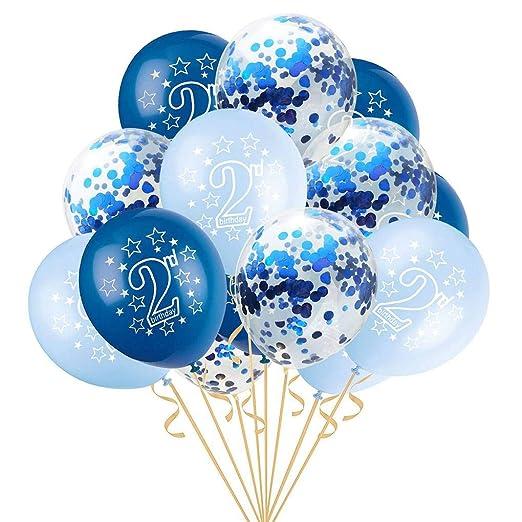 fgyhtyjuu Látex Confeti de los Globos Globos de Aire Inflable 15pcs bebé Segundo cumpleaños para la Muchacha del bebé 2 Fiesta de cumpleaños Viejo ...