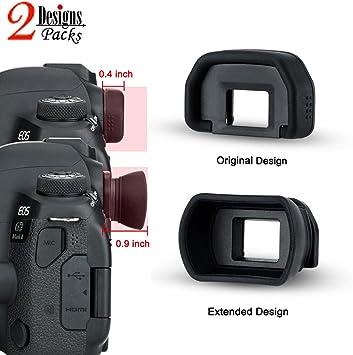 2 Pack 2 Types Camera Eyecup JJC DSLR Eyepiece Viewfinder for Canon 6D Mark II 6D 5D Mark II 5D 80D 70D 60D 60Da 50D 40D 30D 20Da 20D 10D,etc Replaces Canon Eye Cup Oval Soft TPU Rubber