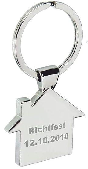 Metall Schlüsselanhänger in Hausform mit Gravur