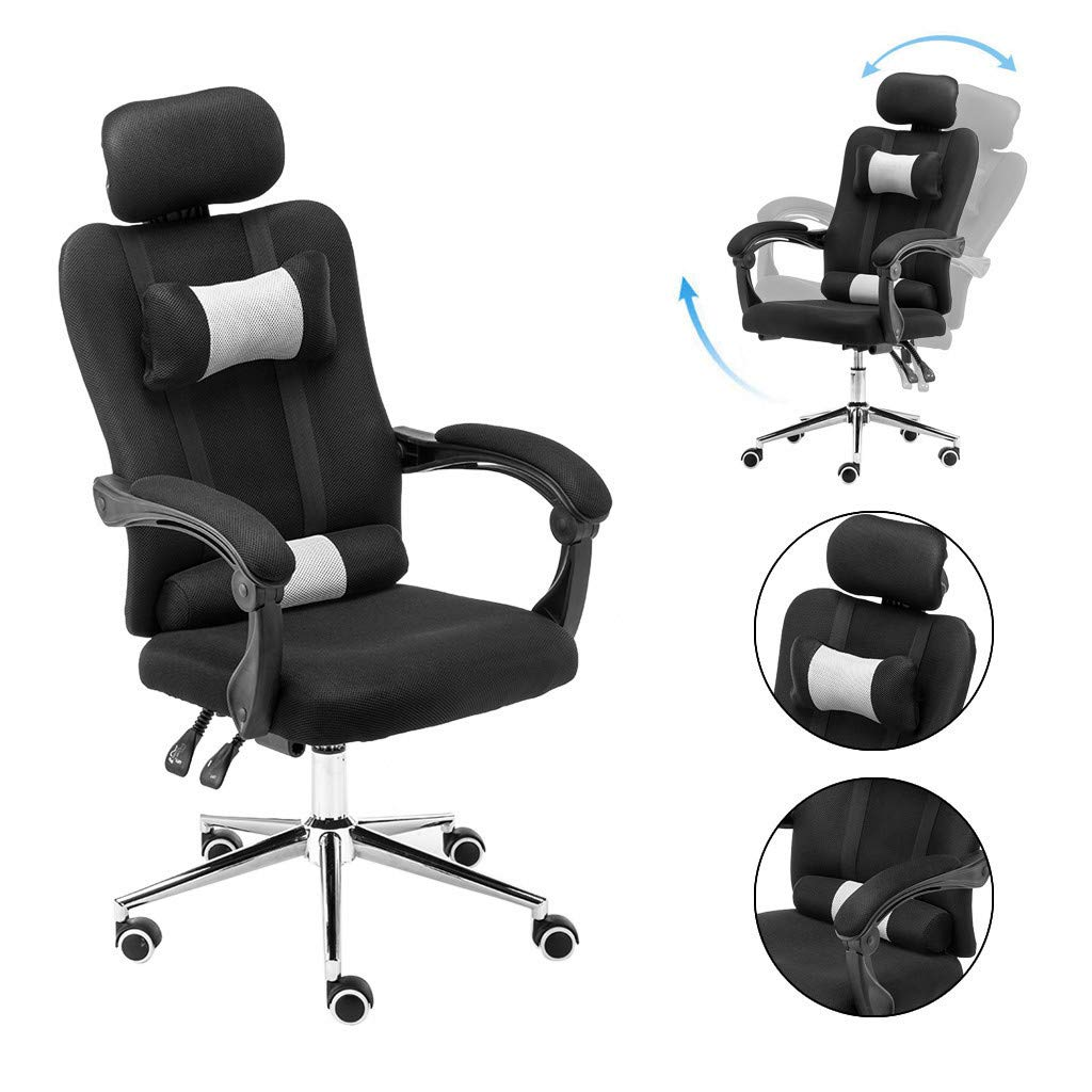 Adjustable Lumbar Work Chair, Ergonomic Office Chair Computer Mesh Chair with Armrests - Modern Executive Stool Rolling Swivel Chair for Back Pain (20×20×63-70inch, Black)