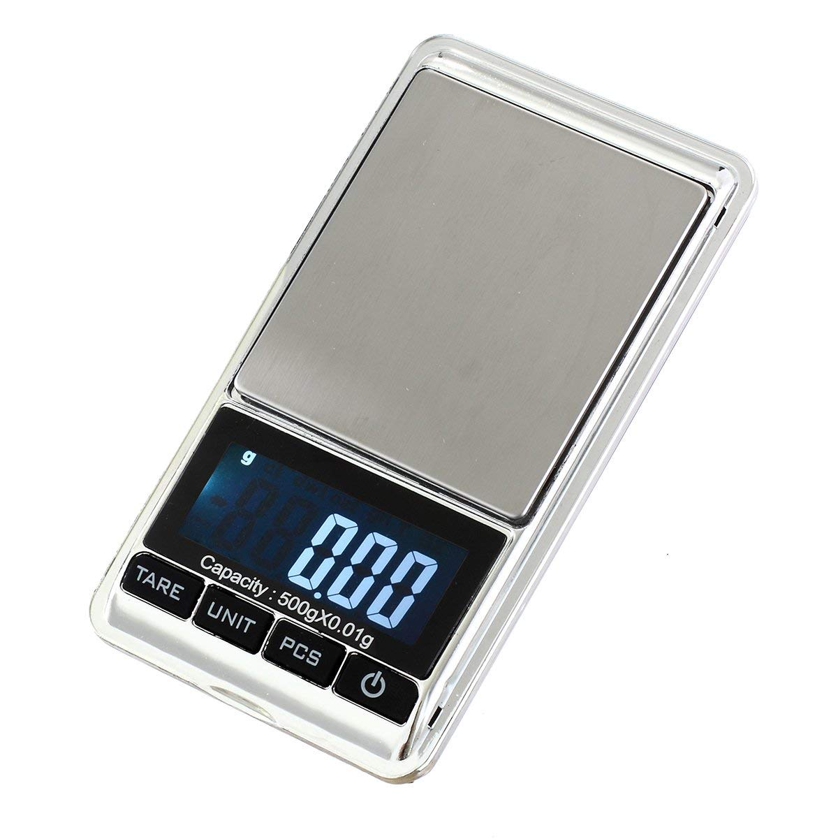 Mini Electronic Gram Weight Scales White Backlit Display 0.001oz//0.01g 500g Precision Portable Jewelry Scale Digital Pocket Scale Auto Off Tare Stainless Steel