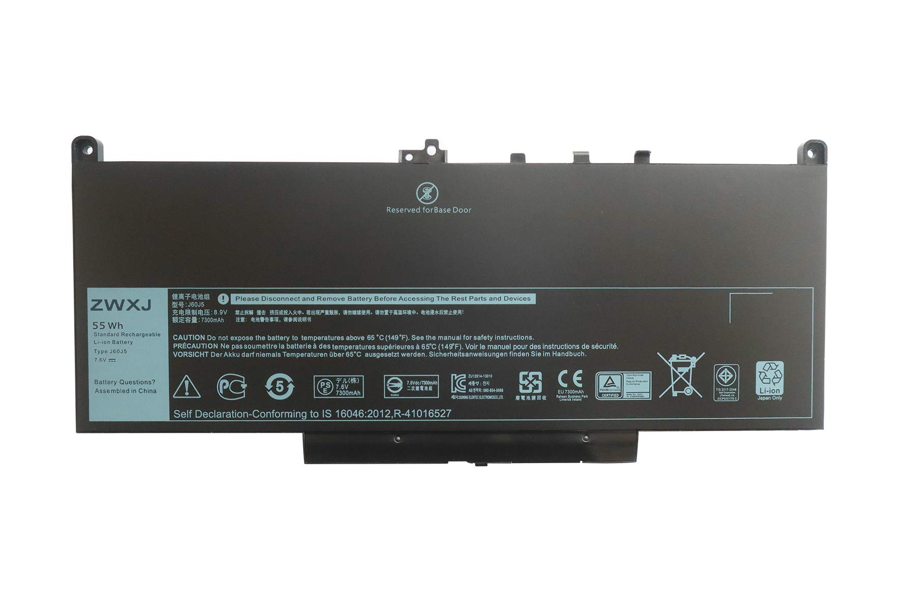 ZWXJ Laptop Battery Type J60J5 (7.6V 55WH) for Dell Latitude E7270 E7470 Series WYWJ2 MC34Y 0MC34Y 1W2Y2 242WD 451-BBSY 451-BBSX dell j60j5 dell 242wd Battery dell 451-bbsx by ZWXJ (Image #3)