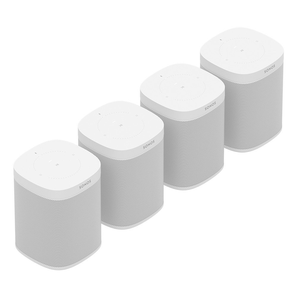 Four Room Set with all-new Sonos One - Smart Speaker with Alexa voice control built-In. Compact size with incredible sound for any room. (White)