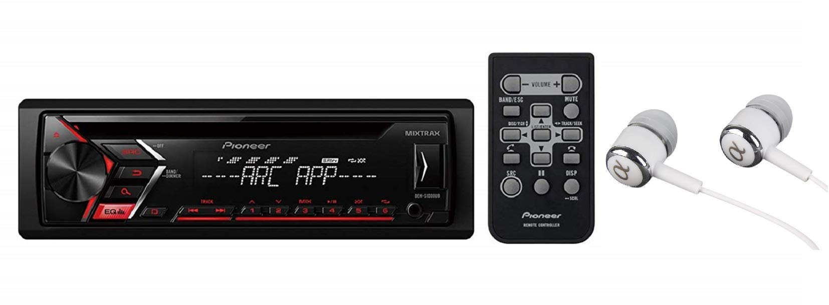 Pioneer DEH-S1000UB Single DIN In-Dash CD, CD-R/RW, MP3, Front USB and Auxiliary Input, AM/FM Detachable Face Plate Car Stereo Receiver w/ MIXTRAX and ARC Support / FREE ALPHASONIK EARBUDS