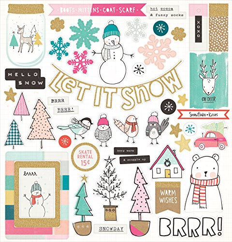 Adhesive Chipboard - American Crafts Stickers Crate Paper Snow & Cocoa 12 x 12 Inch Adhesive Chipboard Icons 50 Piece